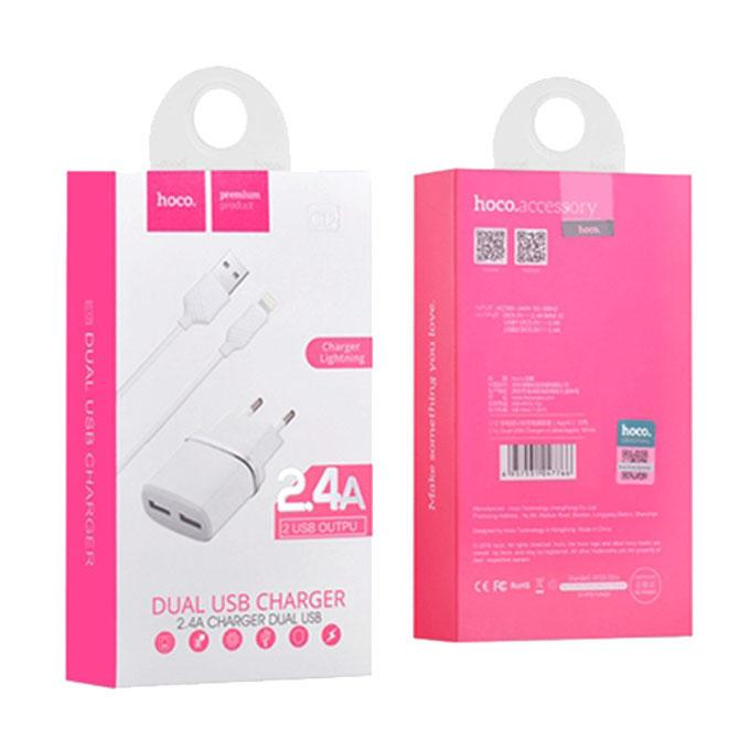 C12 Dual USB 2.4A Travel Charger for iPhone 5/6/7 - White