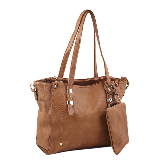 Saddle Brown PU Leather Shoulder Bag For Women