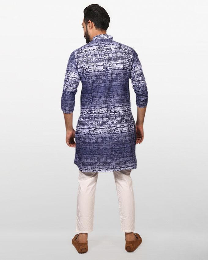 Multicolor Printed Braso Cotton Panjabi for Men