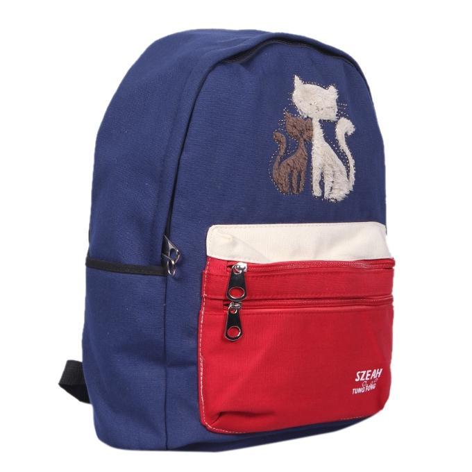 Navy Blue Polyester Backpack For Men