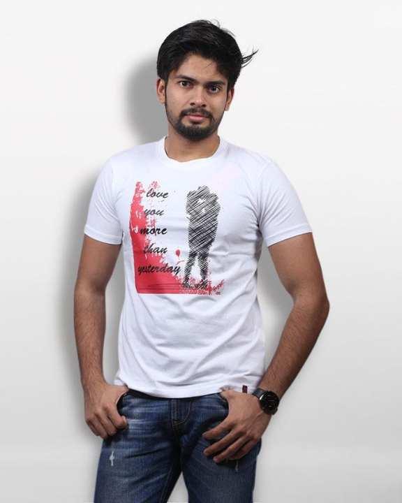 White Cotton Round Neck T-Shirt For Men