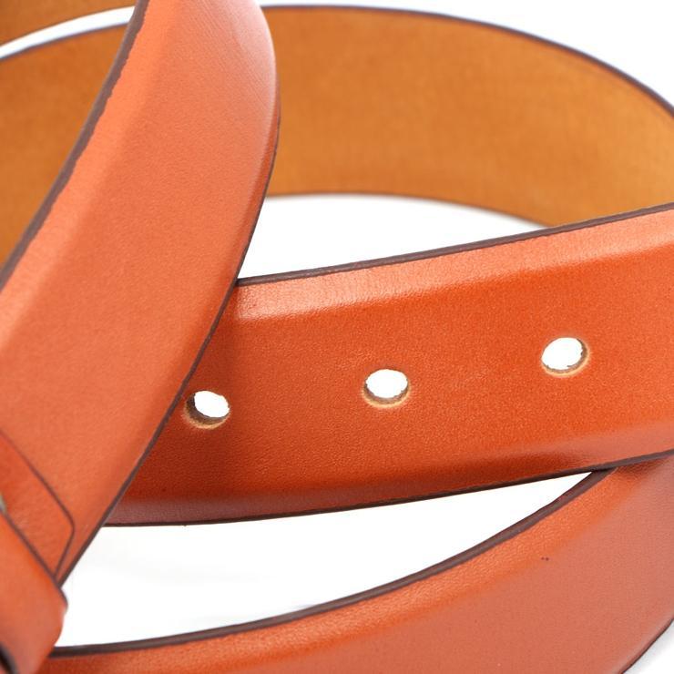 Orange Formal Leather Belt for Men