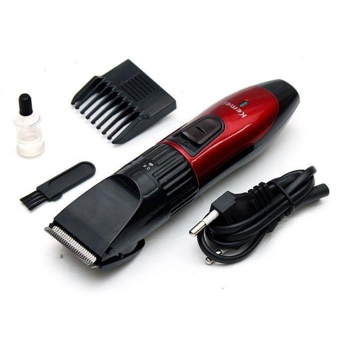 KM-730 Rechargeable Wireless Hair Trimmer For Men - Red