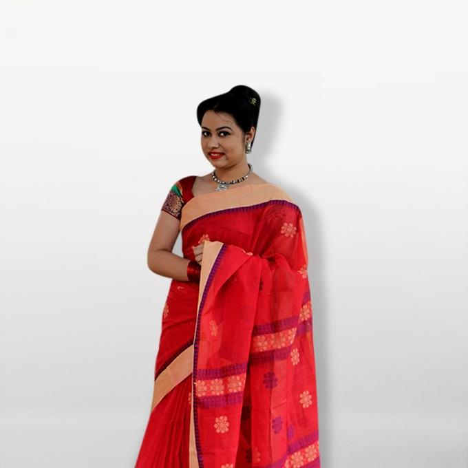 Red Pure Cotton Saree for Women