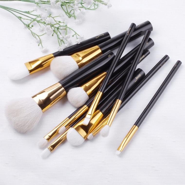 T100 12 PCs Acrylic Series Brush Set - Black and Golden