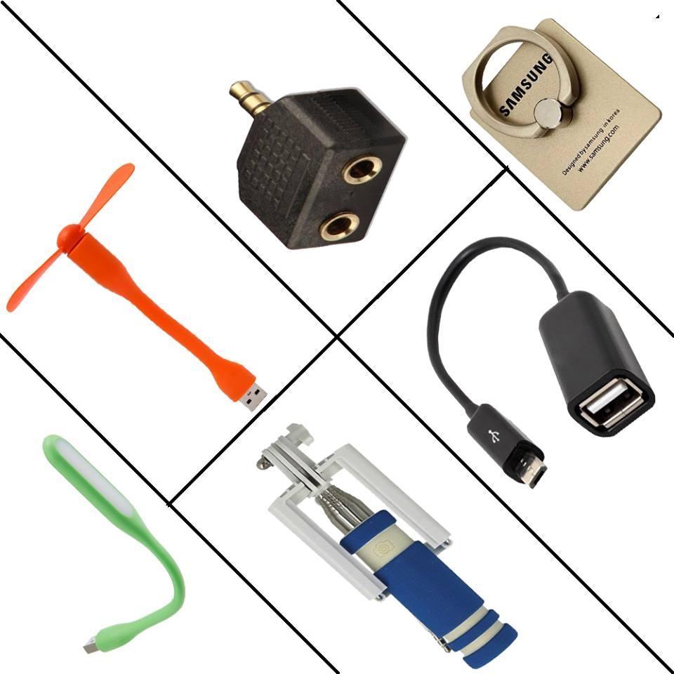 6 in 1 Mobile Accessories Combo - Multicolor