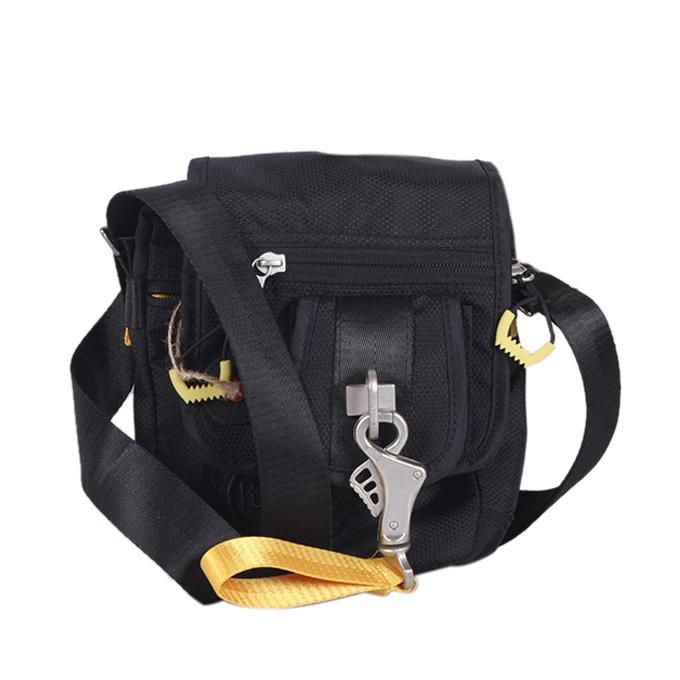 Black Polyester Messenger Bag For Men