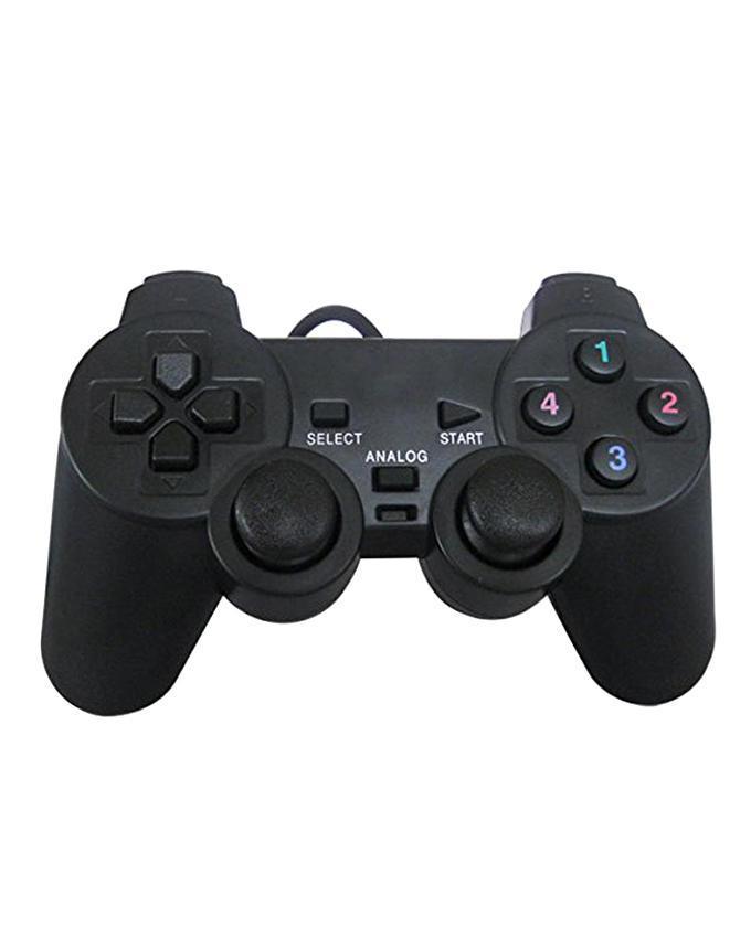 USB PC Game Dual Shock Joystick Controller - Black