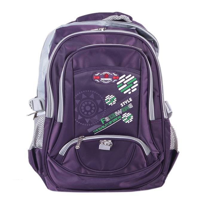 Polyester Backpack For Boys - Purple and Gray