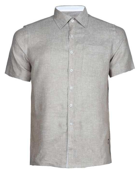 Linen Casual Short Sleeve Shirt - Beige