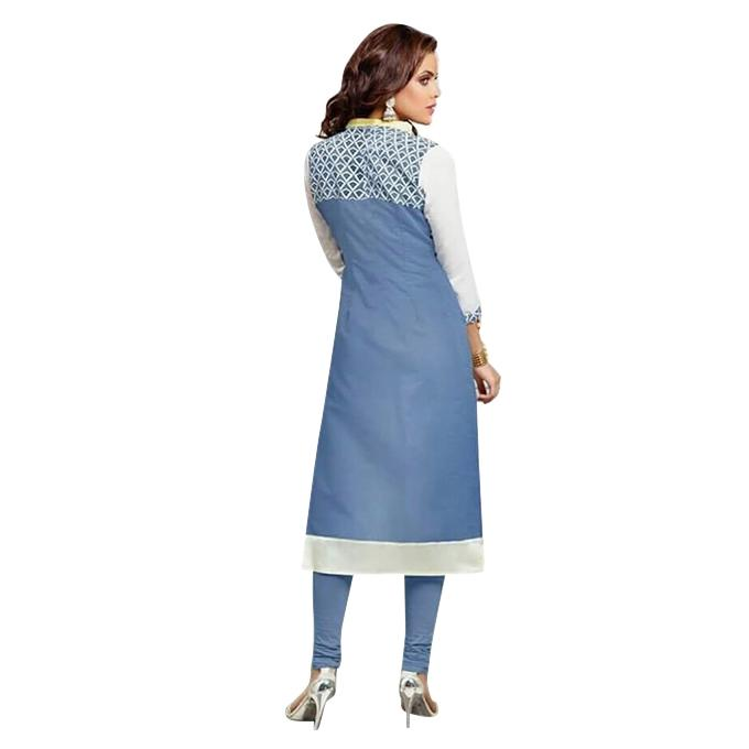 Sky Blue Cotton Un-stitched Block Printed Shalwar Kameez For Women