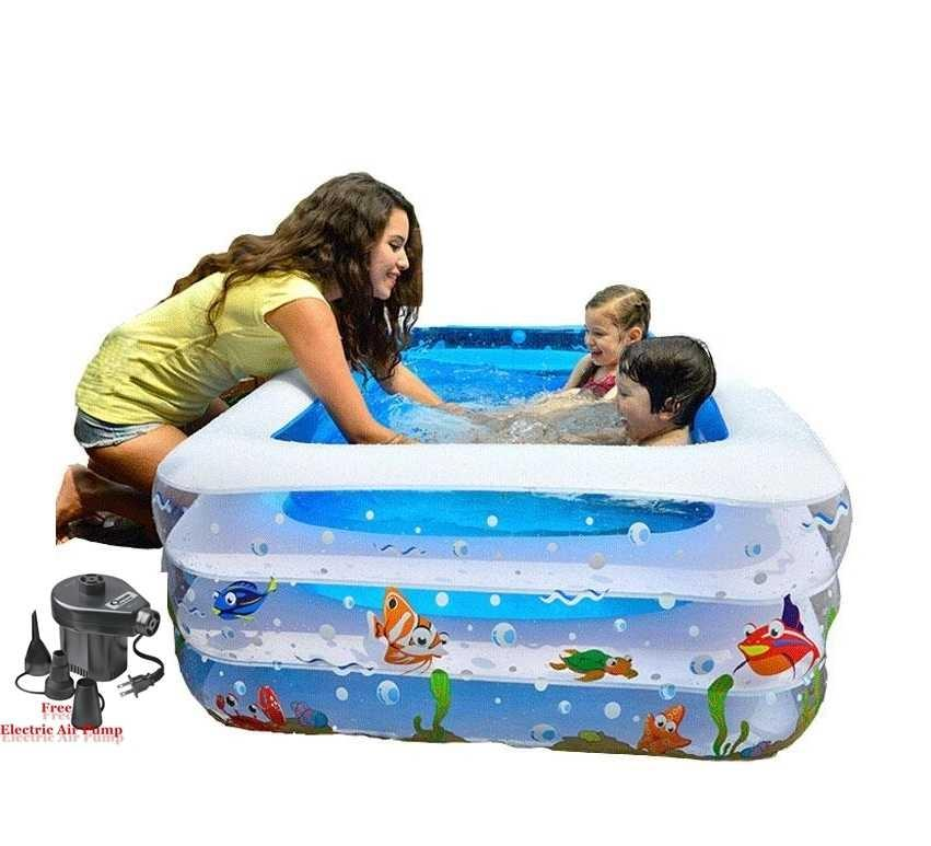 Inflatable Baby Swimming Pool with E-Pumper - Blue