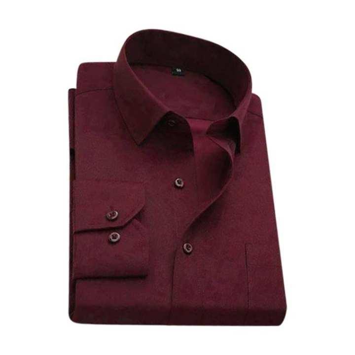 Dark Red Torry Cotton Formal Long Sleeve Shirt For Men