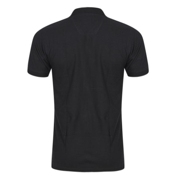 Black Cotton Casual Polo For Men