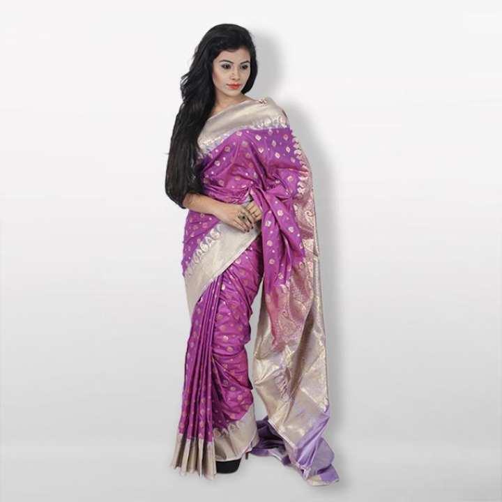 Medium Violet Pink Reshmi Silk  Mirpur Pure Katan  For Women