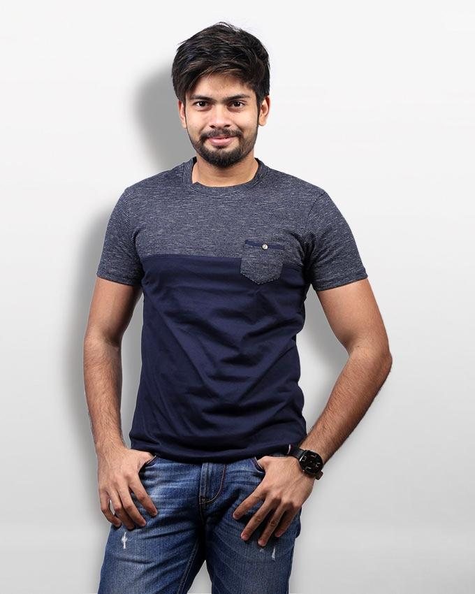 Grey and Navy Blue Cotton Round Neck T-Shirt For Men
