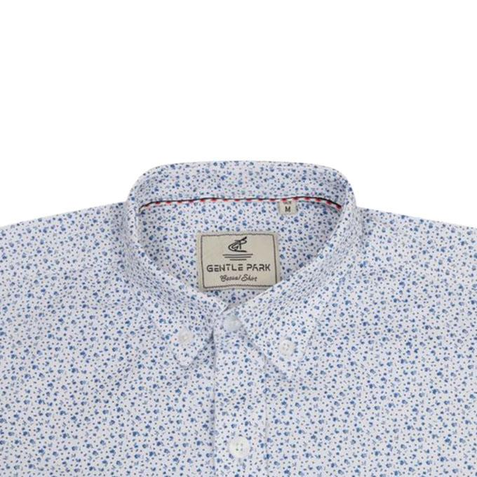 Floral Printed White Cotton Shirt For Men