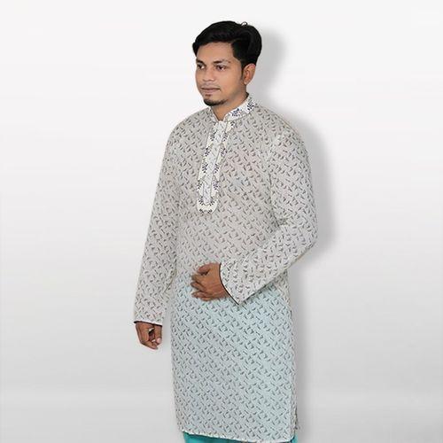 White Cotton Casual Panjabi For Men