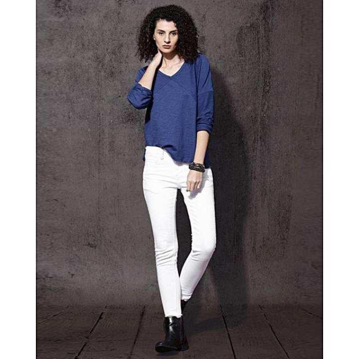 White Denim Jeans Pants for Women