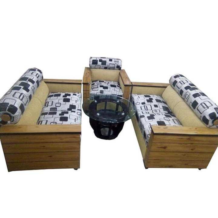 SA-02 - Stylish Design Box Sofa Set 5 Pcs - Brown