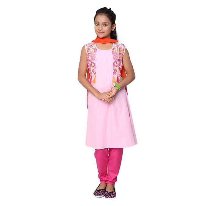 Pink Cotton Salwar Kameez for Girls