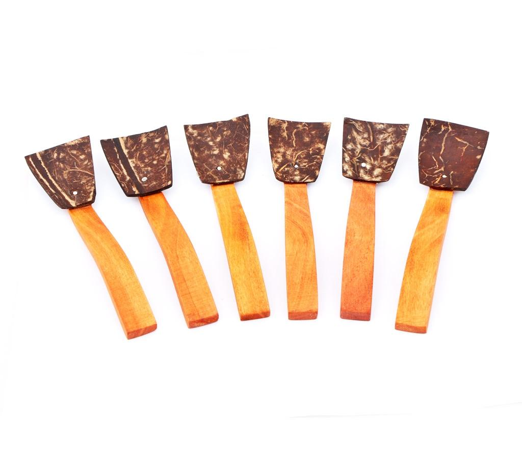Natural Coconut Shell Kitchen Spoon Set - Brown and Chocolate