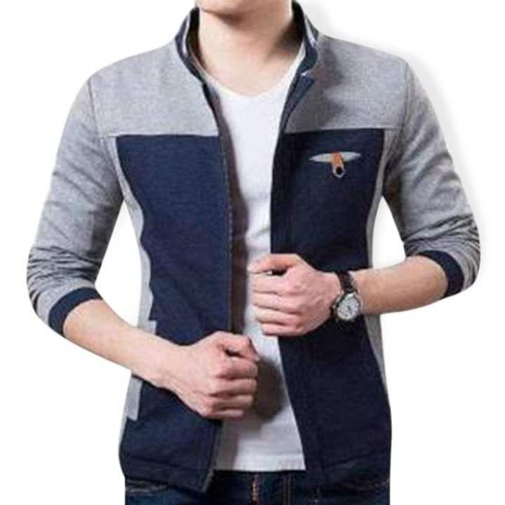 Gray and Navy Blue Cotton Jacket For Men