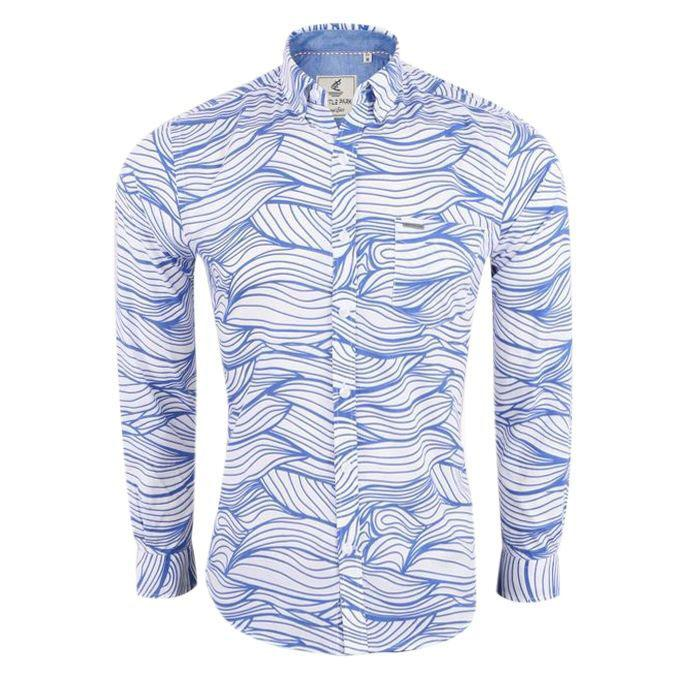 Wave Printed Blue Cotton Shirt For Men
