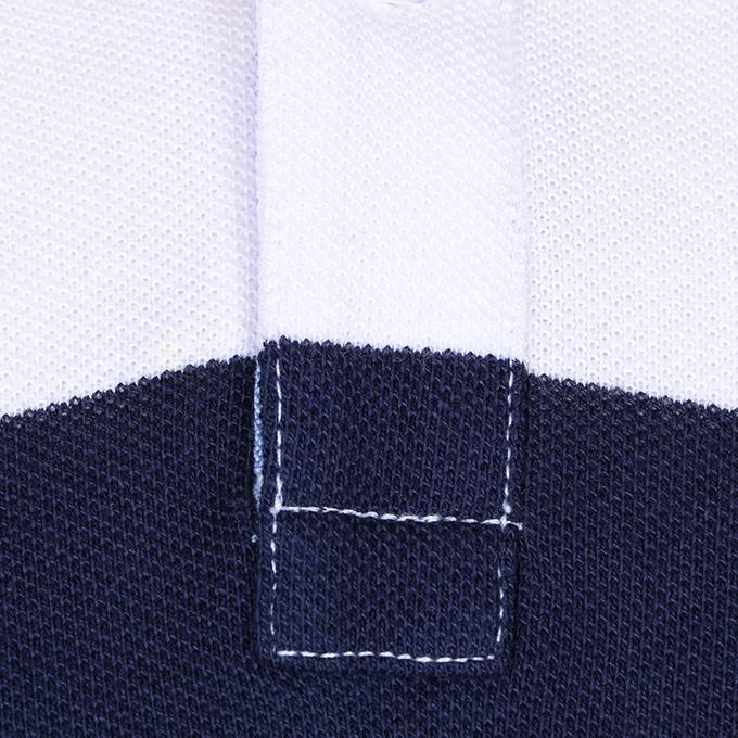White and Navy Blue Cotton Casual Short Sleeves Polo For Men