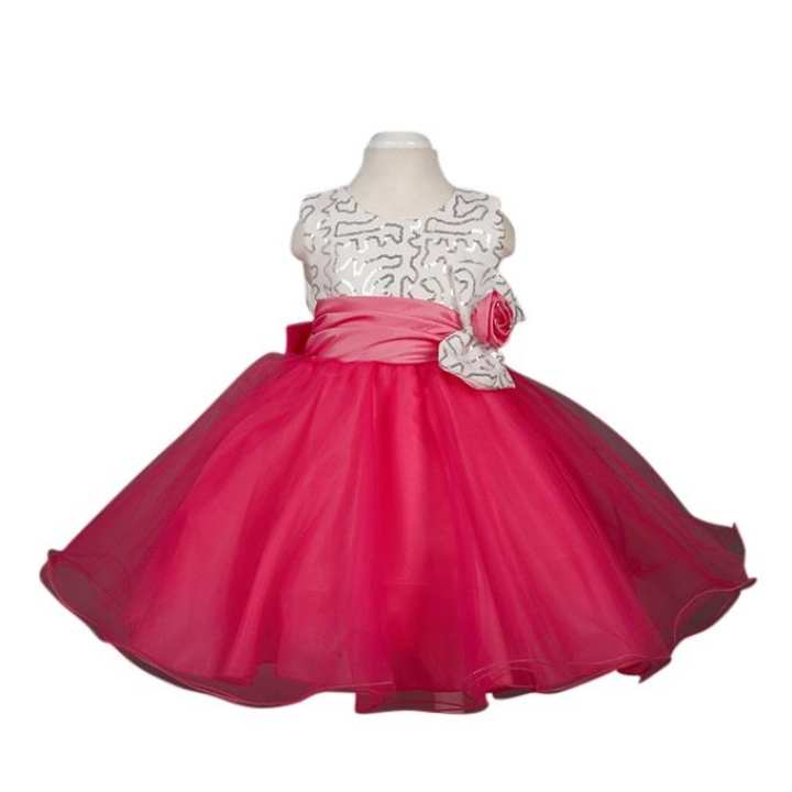 Rose Red Georgette Party Frock For Girl