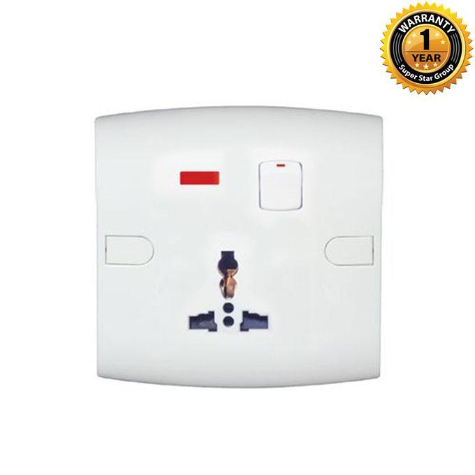 Slim Series Slim Universal Socket With Switch Neon - White