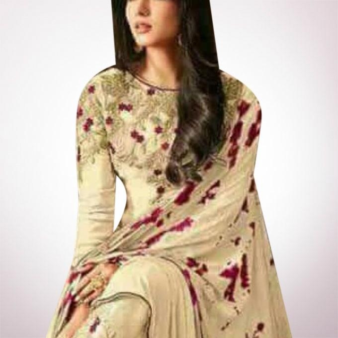 Unstitched Wheat Georgette Gown For Women