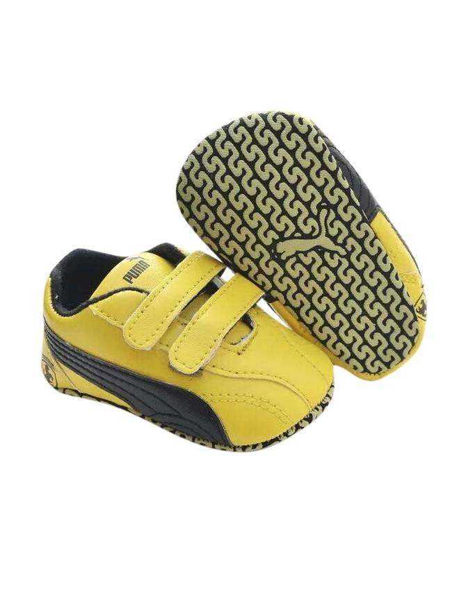 Yellow and Black PU Leather Sneaker For Boys