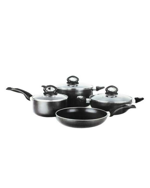 7 Pcs Non-Stick Cooking Set 24cm - Black