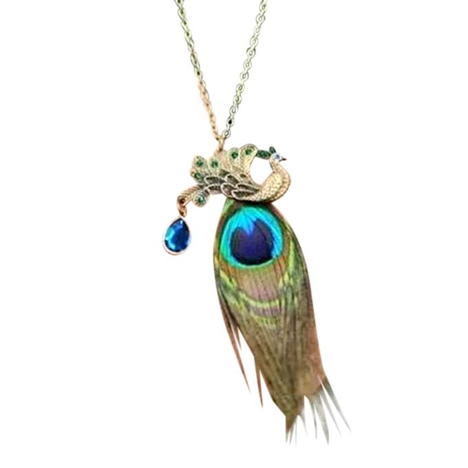 Multi-color Zinc Alloy Peacock Feather Necklace For Women