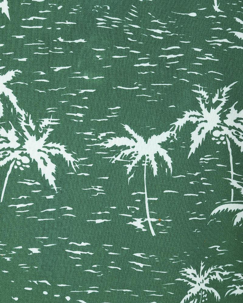 Viscose Casual Short Sleeve Shirt - Green Print