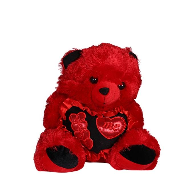 Wool Tedy Bear  - Black and Red