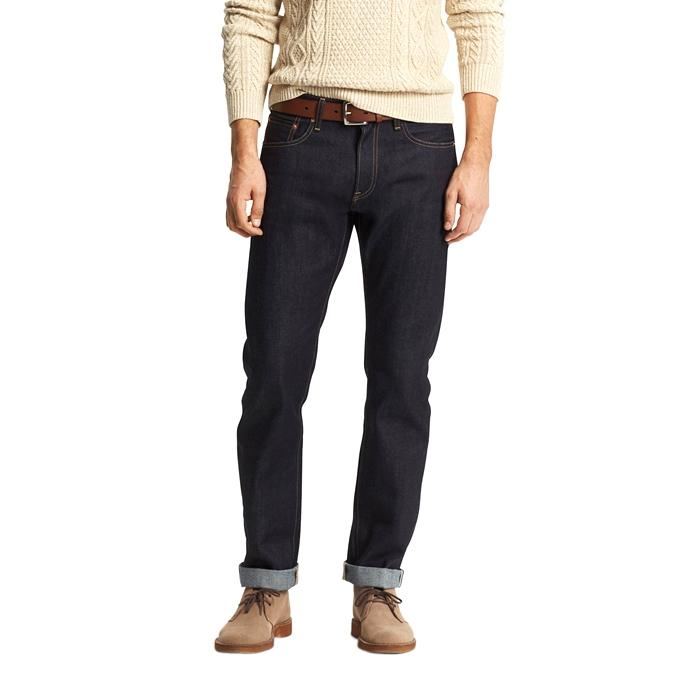 Black Denim Semi Narrow Jeans for Men