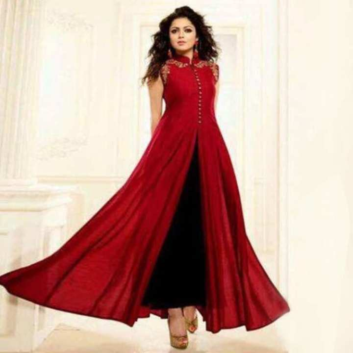 Unstitched Maroon Indian Georgette Gown For  Women