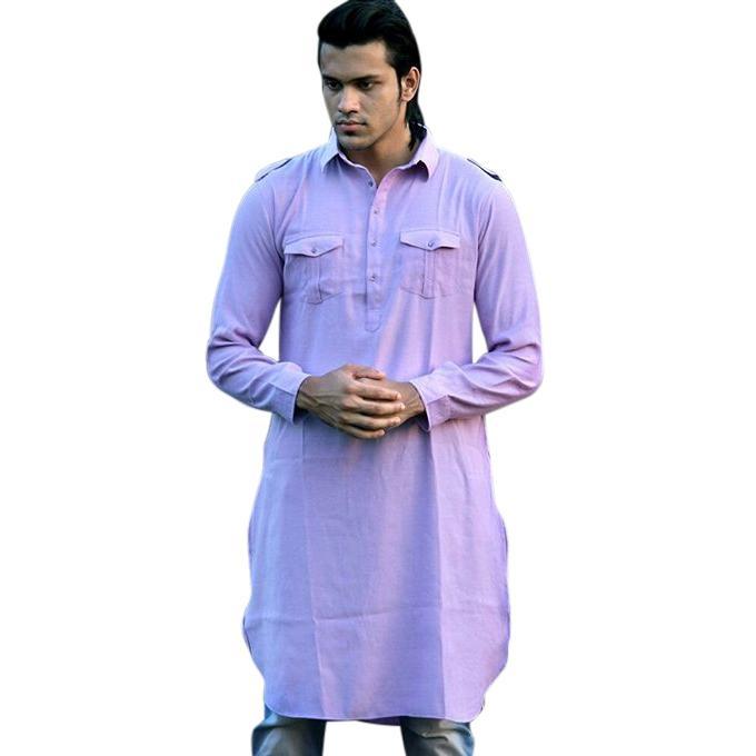 Twilight Blue Cotton Casual Panjabi For Men