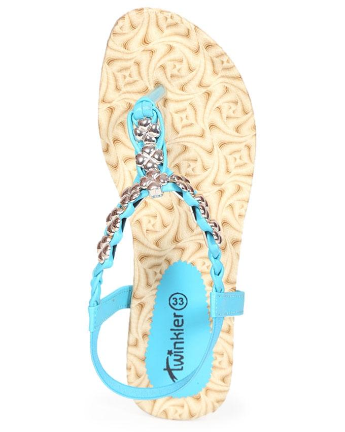 Twinkler Blue Smooth Leather Casual Sandal for Girls