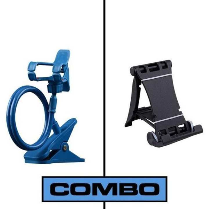 Combo of Multi Mobile Tablet Stand & 360 Rotate Mobile and Tablet Stand - Black & Blue