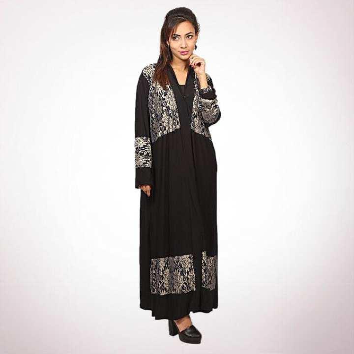 Black Korean Spandex Abaya For Women
