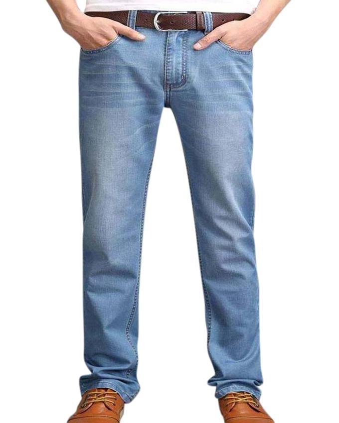 Sky Blue Denim Casual Jeans For Men