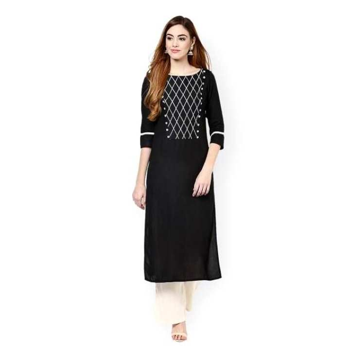 Black Chinese Linen Embroidered Kurti For Women