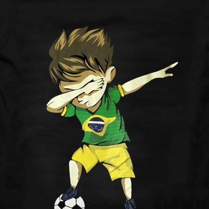 Black Cotton Short Sleeve Brazil Printed T-Shirt