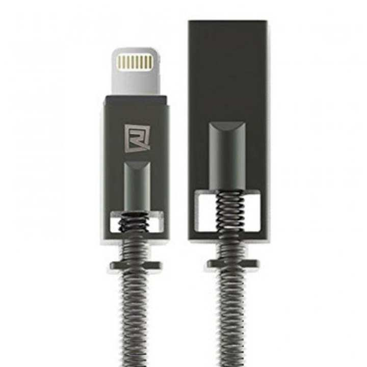 RC-056i 2.1a Quick Charging Data Sync Cable with Metal Spring for iPhone - Black