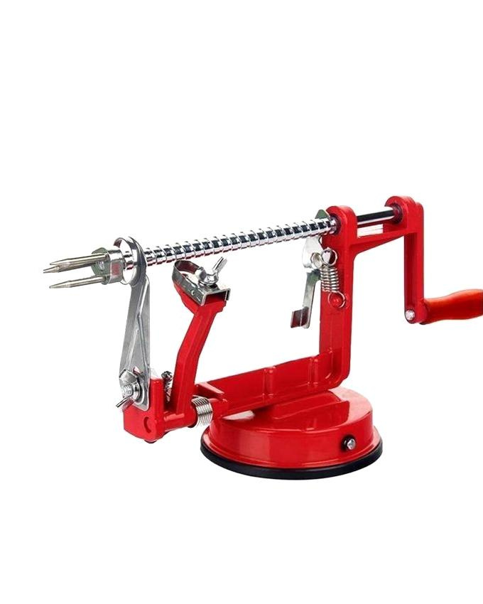 3 in 1 Apple Peeler Slicing Machine - Red and Silver