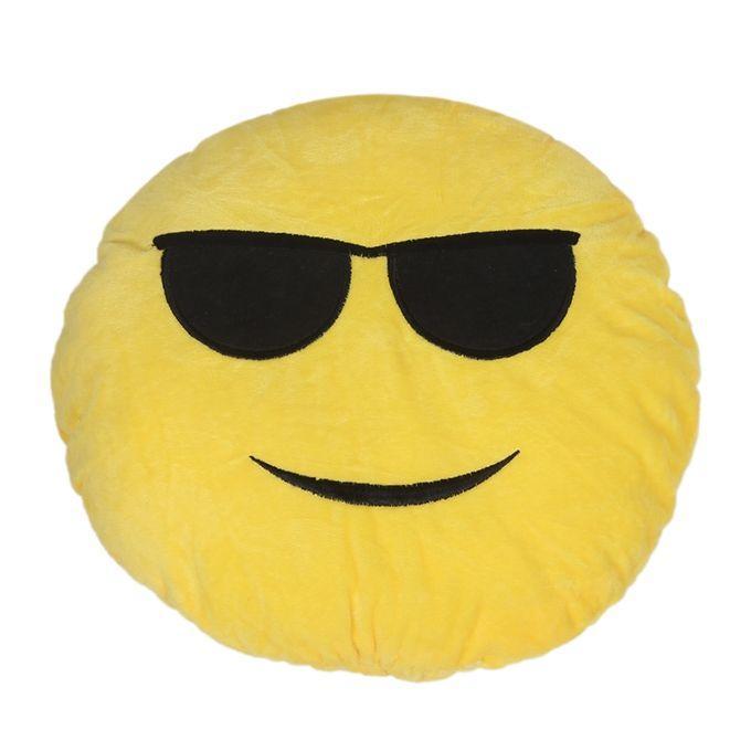 Sunglass Emoji Decorative Cushion - Yellow
