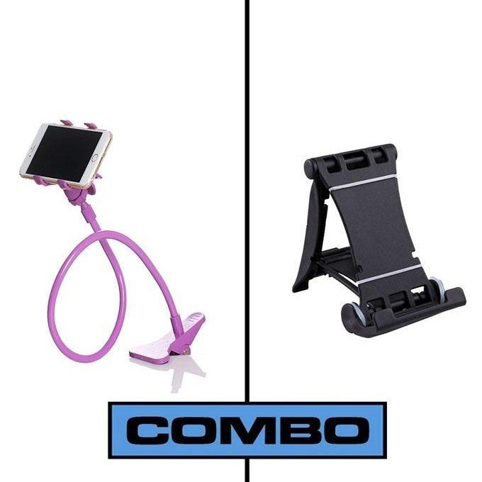 Combo of Multi Mobile Tablet Stand & 360 Rotate Mobile and Tablet Stand - Black & Purple